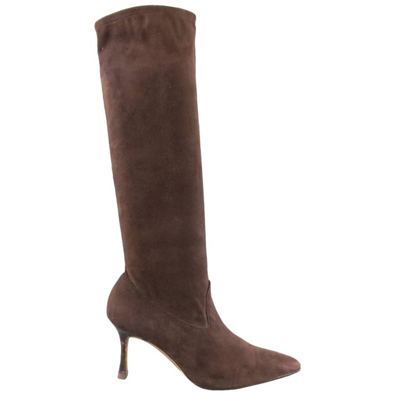 MANOLO BLAHNIK Size 8 Brown Suede Pointed Toe Knee High Boots
