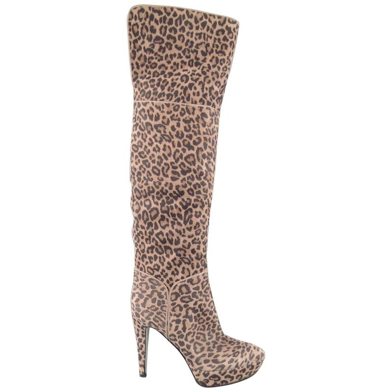 SERGIO ROSSI Size 6 Taupe Leopard Print Suede Over The Knee Platform Boots
