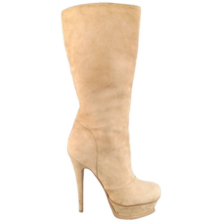 YVES SAINT LAURENT Size 7.5 Camel Suede TRIBUTE Platform Calf Boots