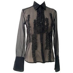 Gianfranco Ferre Black Silk Chiffon Ruffle Blouse