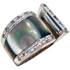 Vintage Modernist Sterling Silver, Crystal & Abalone Shell Ring