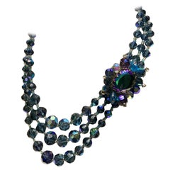 1950'S Triple Strand Peacock Blue Art Glass Bead Necklace