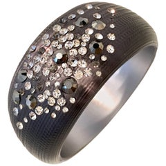 Alexis Bittar Style Lucite & Swarovski Crystal Bangle Bracelet