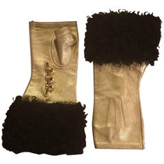 Chanel Gold Leather Fingerless Gloves with Black Shearling Trim, 2009