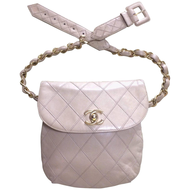 Vintage CHANEL beige waist purse fanny pack hip bag with golden