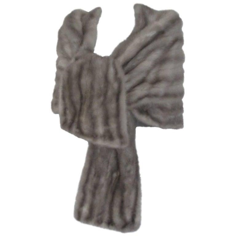 vintage grey mink fur stole For Sale