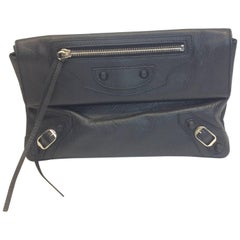 Balenciaga Black Fold Over Clutch