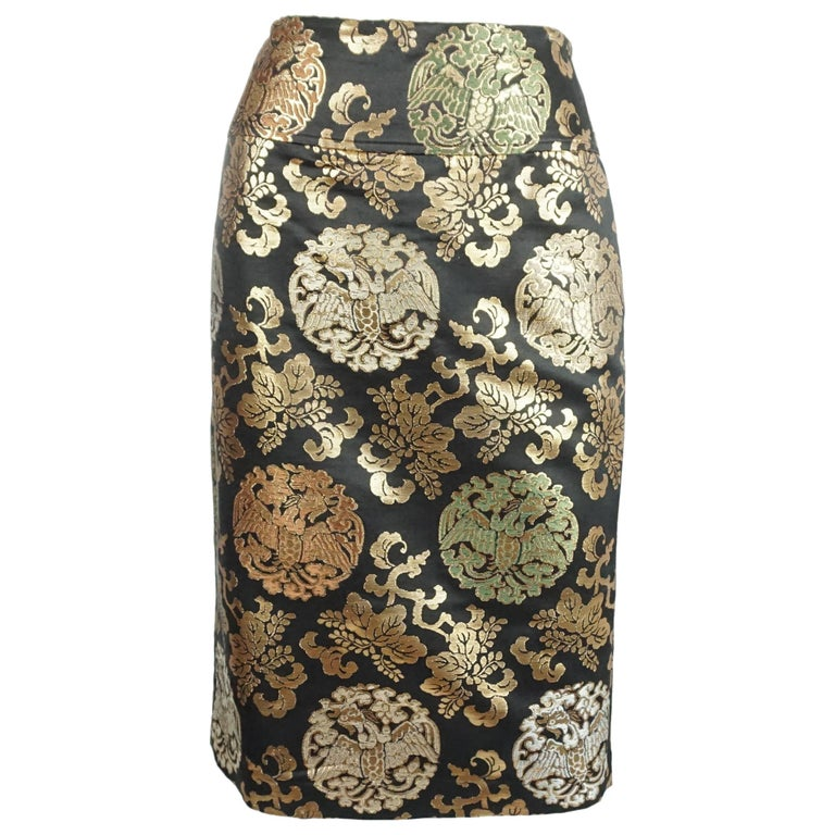 Ralph Lauren Black and Gold Asian Inspired Skirt - 10