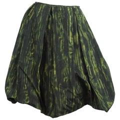 Prada Green Print Silk Taffeta Skirt - 44