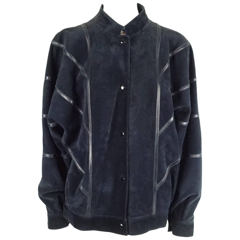 Celine Navy Suede and Leather Oversize Jacket - 42 - 1980s