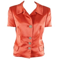 Gianni Versace Couture Coral Silk Short Sleeve Jacket -Small