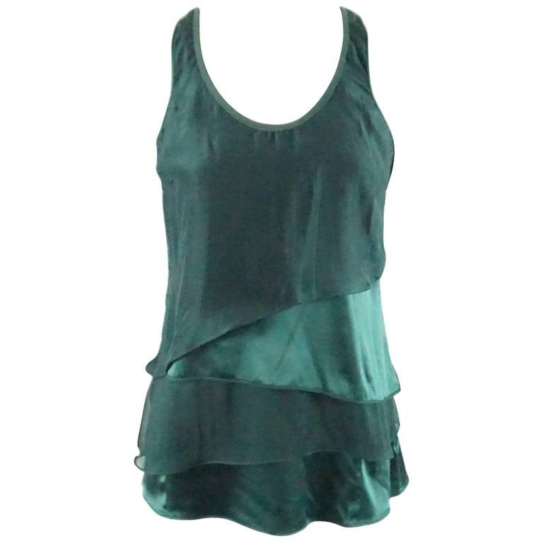 d8edd7372aeef Brunello Cucinelli Dark Green Silk Layered Tank Top-S For Sale at ...