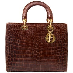 Dior Brown Croco Lady Dior Bag