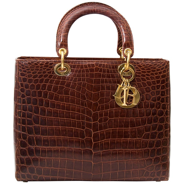 Dior Brown Croco Lady Dior Bag For Sale