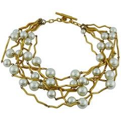 Biche de Bere Vintage Multi Strand Modernist Pearl Choker Necklace