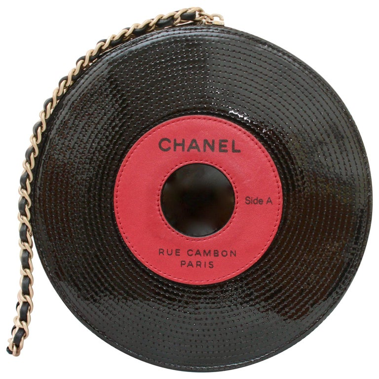 Chanel Record Bag Clutch Red & Black Patent Leather Limited Edition 2004 Runway  For Sale