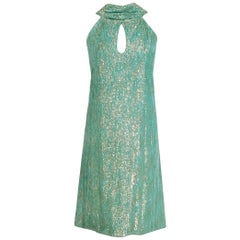 1966 Christian Dior Haute-Couture Metallic Seafoam Velvet Cut-Out Mod Dress