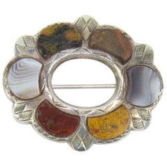 Antique Victorian Sterling Silver Scottish Agate Pebble Brooch Pin