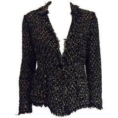 Legendary Lanvin's  Black & White Cotton Blend Fringed  Jacket