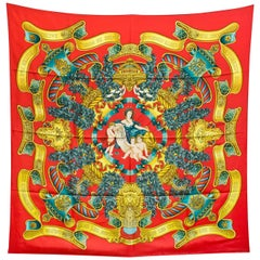 Hermes Europe Red and Gold Silk 90cm Scarf with Box