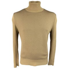 Men's GUCCI Size L Khaki & Brown Ribbed G Monogram Print Silk Turtleneck