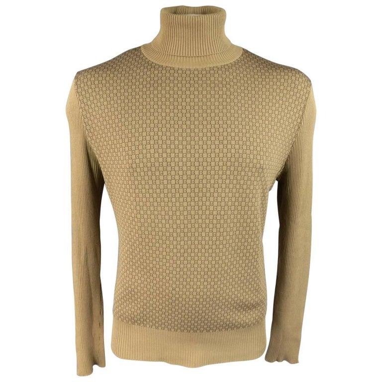 Men's GUCCI Size L Khaki & Brown Ribbed G Monogram Print Silk Turtleneck 1
