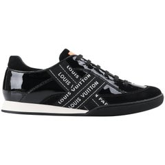 "LOUIS VUITTON c.2007 ""Lesley"" Black & White Patent Leather Signature Sneakers"