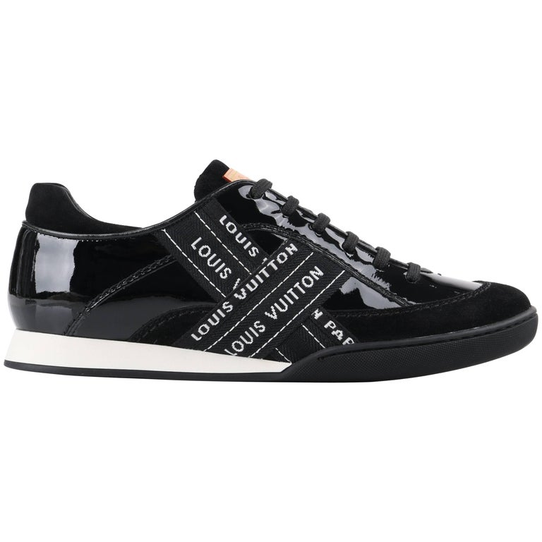 "LOUIS VUITTON c.2007 ""Lesley"" Black & White Patent Leather Signature Sneakers"