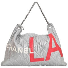 Chanel Limited Edition Silver & Red Fabric Chanel x LA Bag