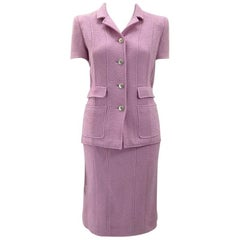 Chanel Boutique Lavender Wool Boucle Suit