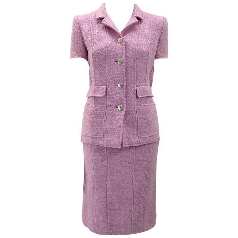 Chanel Boutique Lavender Wool Boucle Suit 1