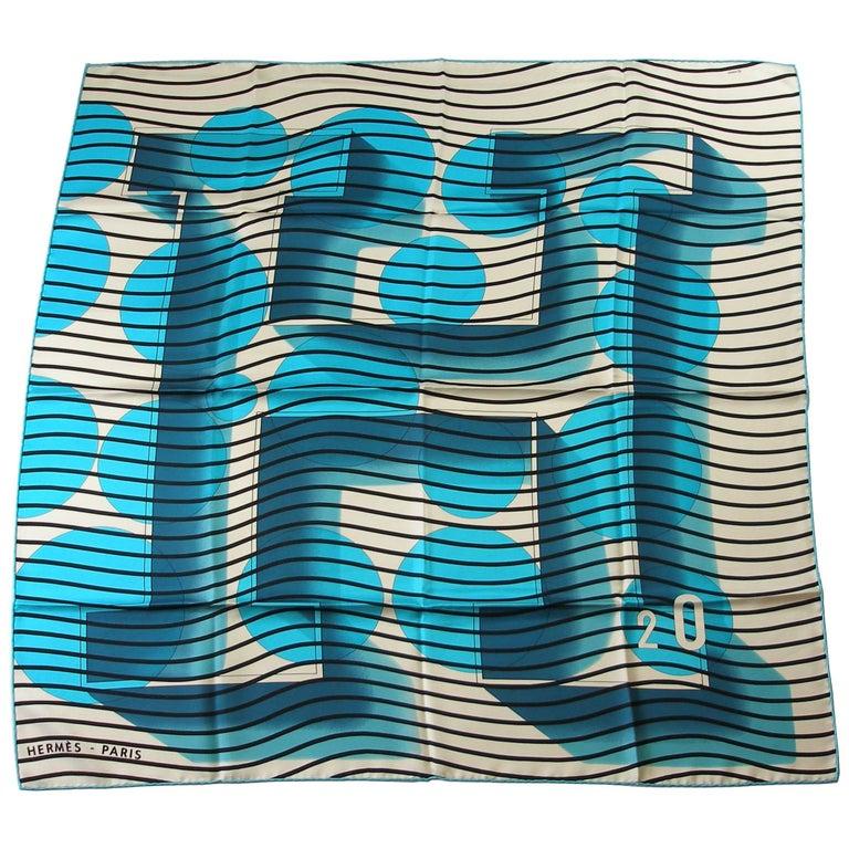 Hermès Made in France H 2 O Scarf Silk 90 cm / BRAND NEW