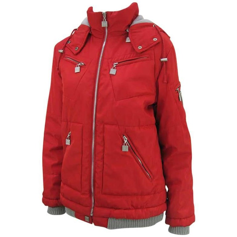 Chanel Red Puffer Ski Jacket Parka For Sale
