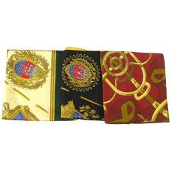 VERY GOOD DEAL Set 3 Hermès Vintage Twill silk Scarf 90 cm / Good Condition