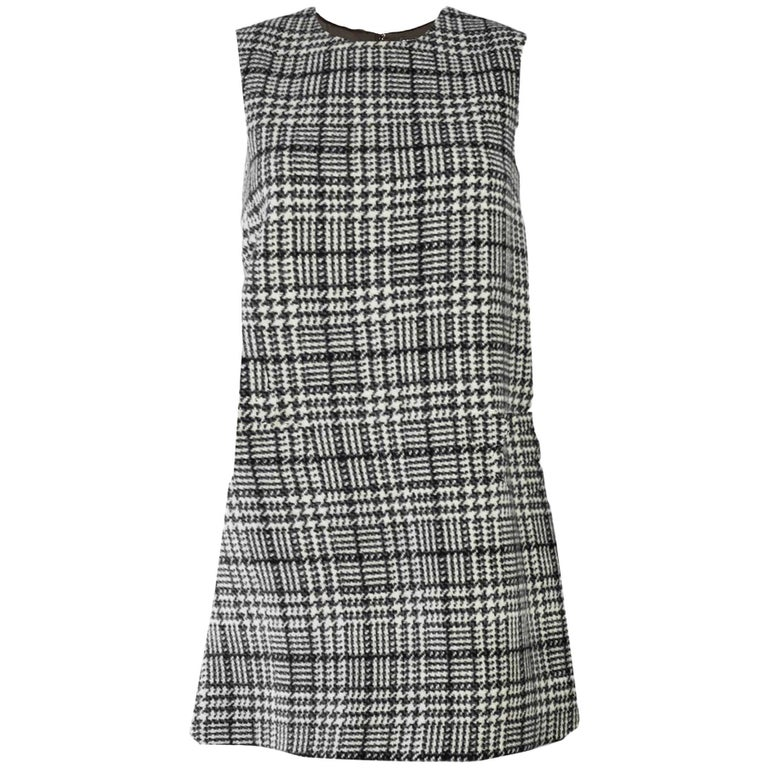 Dolce & Gabbana Black & White Wool Houndstooth Dress Sz IT46