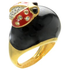 Fabulous Signed Kenneth J Lane KJL Haute Couture Enamel Ladybug Ring