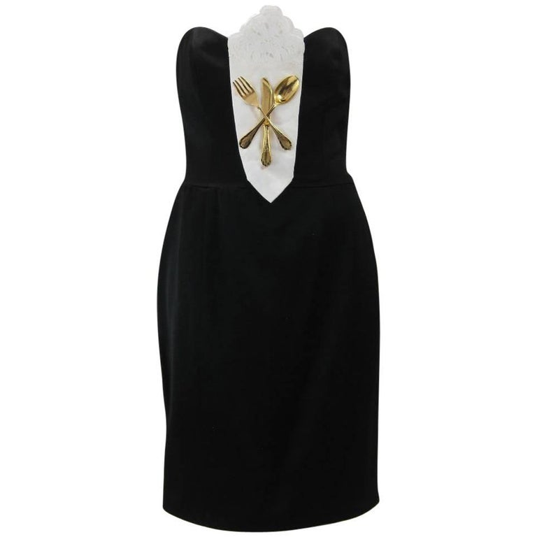 Iconic 1989 Moschino Couture Black Strapless Dinner Dress