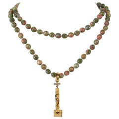 Antique Perfume Atomizer on Long Facet Agate Statement Necklace