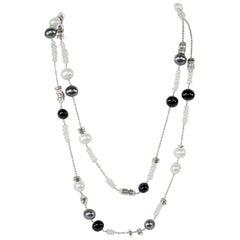Faux Perle opalisierend Kristall und Silber Perlen Halskette Start-und Landebahn