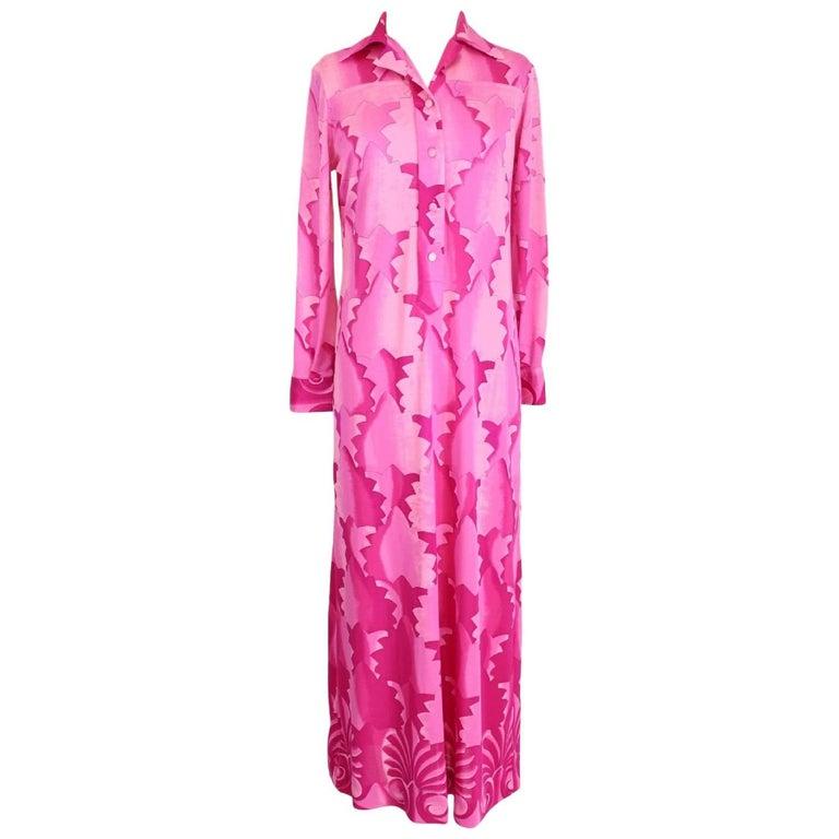 La Mendola dress vintage tunic fuchsia 1970s long 100% banlon size 48 geometric