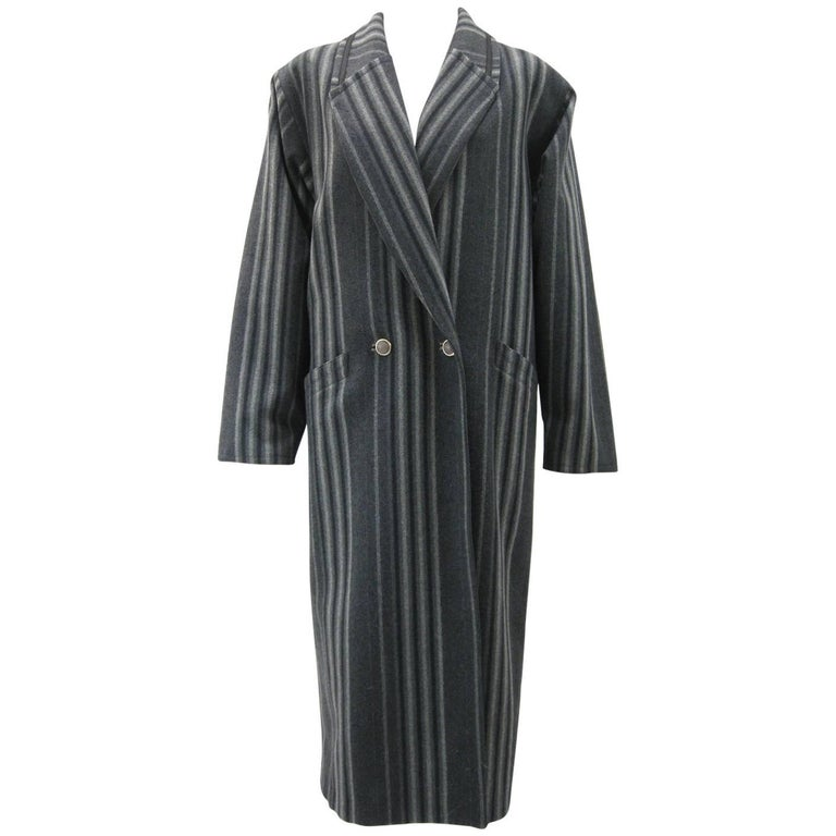 Gianni Versace Menswear Inspired Striped Wool Coat For Sale