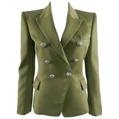 Balmain Olive Green Wool Blazer with Silver Lion Head Buttons