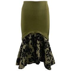 mary katrantzou olive green flocked mesh and felt wool skirt