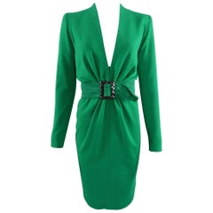 YSL Yves Saint Laurent Haute Couture Vintage 1990's Green Wool Knit Jersey Dress
