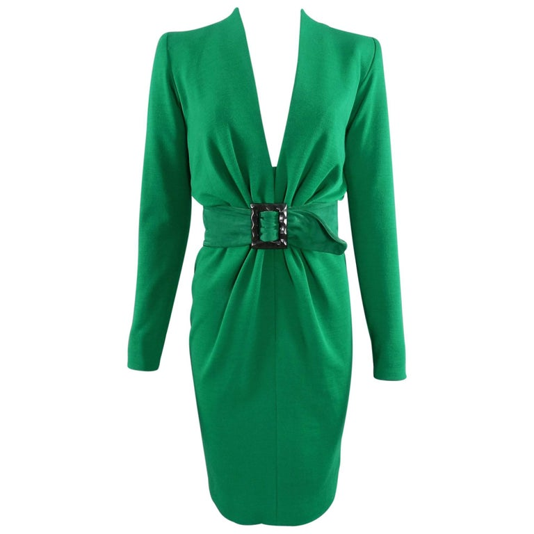 YSL Yves Saint Laurent Haute Couture Vintage 1990's Green Wool Knit Jersey Dress 1