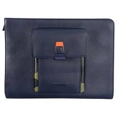 Dior Homme Spring 2016 Navy Leather and Camoflauge Portfolio Clutch Bag