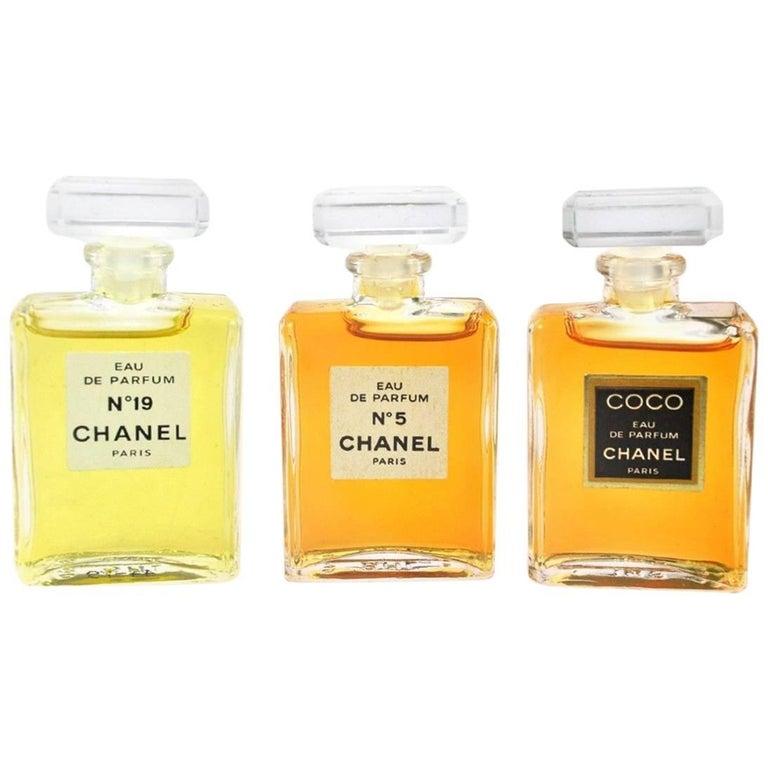 Chanel Vintage Rare Three Piece No 5 No 19 CoCo Eau de Perfume Gift Set in Box
