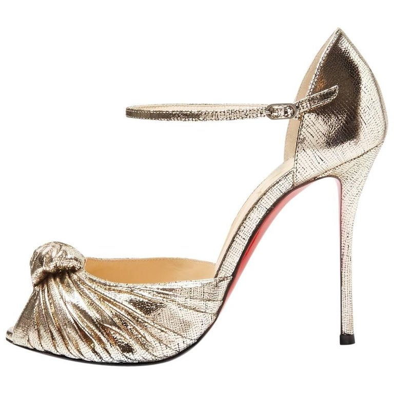 Christian Louboutin New Gold Metallic Bow Evening Sandals Heels in Box For Sale