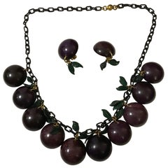 Bakelite Necklace Grape with Matching Earrings Jan Carlin