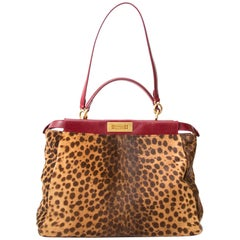Very Rare Fendi Peekaboo Large in Leopard Calf and Burgundy